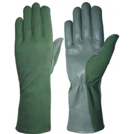 Hanks Surplus Military Style Nomex Fire Resistant & MultiCam Pilot Flight Leather Gloves