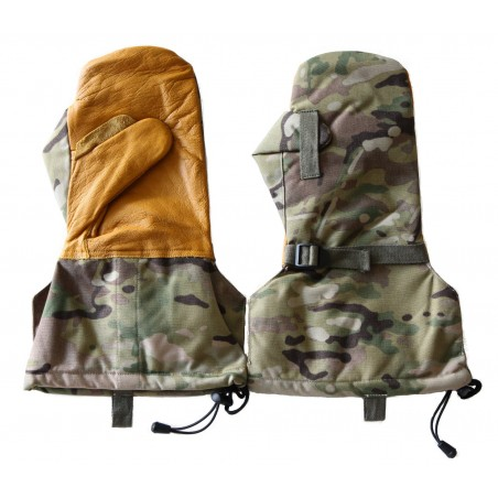 Hank's Surplus Military Camouflage Cold Weather Leather Snow Ski Hunting Mittens & Wool Liners
